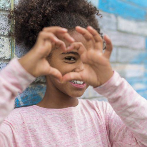 Child love heart hand
