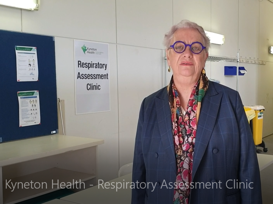 Maree Cuddihy in front of respiratory assesment clinic